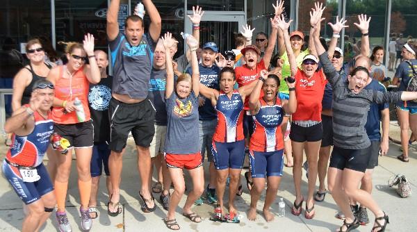 the Fleet Feet team celetrating after the race
