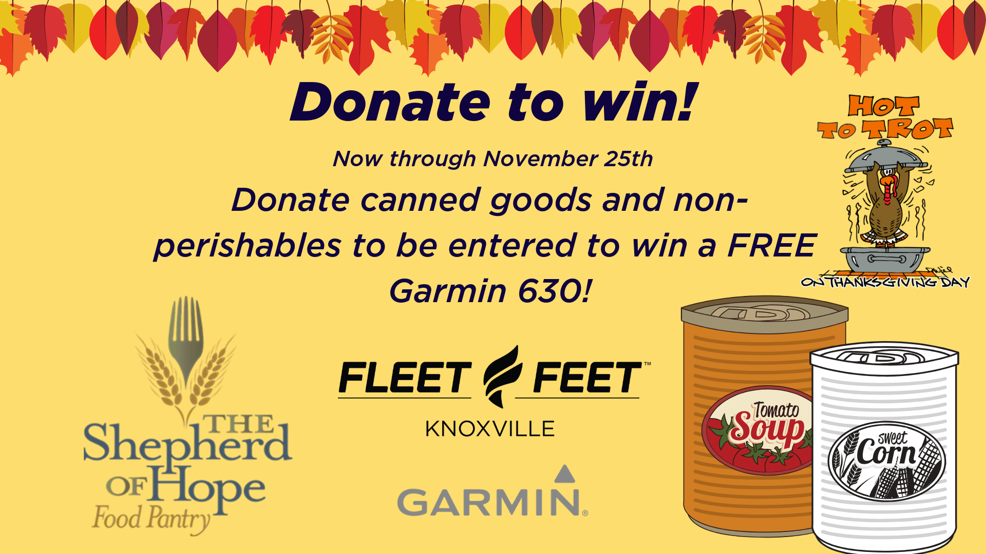 Food Drive - win a Garmin 630