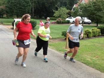 Pam running with Cheryl and Ken